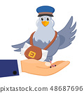 Carrier pigeon sits in his hand and waves its wing 48687696