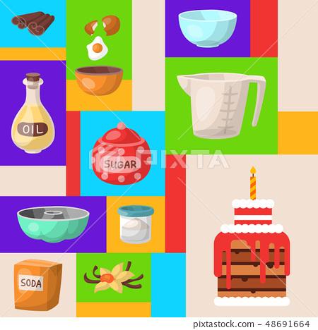 Baking cartoon tools round pattern. Kitchen utensils. Baking ingredients set sugar, vanilla, flour 48691664