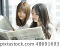 Two women reading a newspaper on the window side 48691693