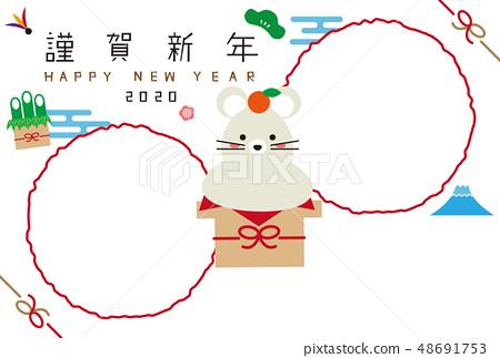 2020新年卡新年卡相框兩個新年卡模板鼠標Mucolet 48691753