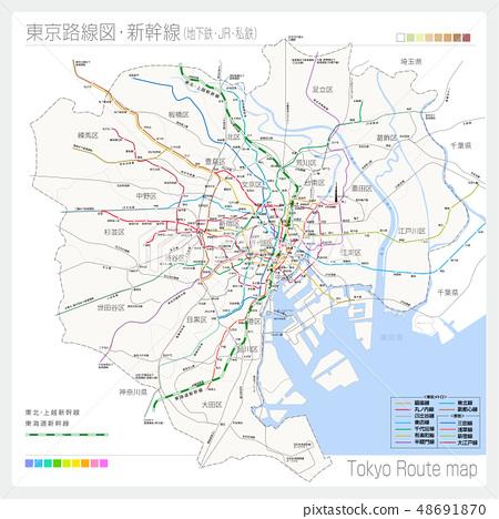 Route map of Tokyo · Shinkansen (subway + JR + private railway) 48691870