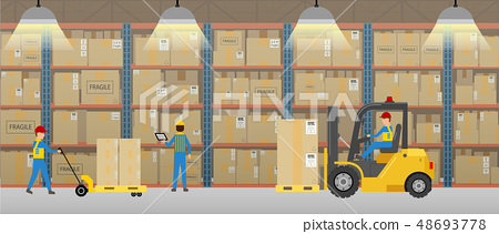Warehouse with workers working 48693778