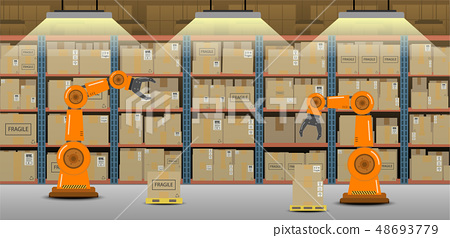 Warehouse with robot arms 48693779
