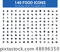 140 food filled icons set. Vector illustration 48696350