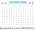 140 food line icons set. Vector illustration 48696351