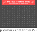140 food thin line icons set. Vector illustration 48696353