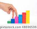 Woman hand finger walk on stacked wooden block 48696506
