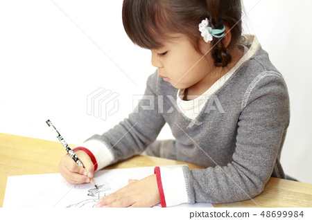 Infant (4 yr old child) painting 48699984