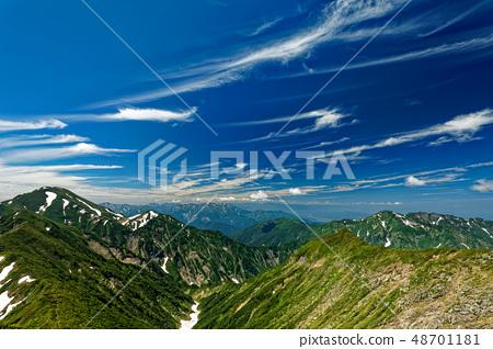 신록과 잔설 치고 고마 능선에서 바라 中노岳와 핫 카이 산 48701181