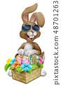 Easter Bunny in Sunglasses Eggs Hunt Cartoon 48701263