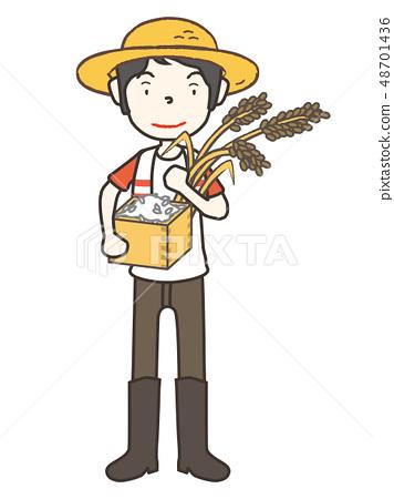 收穫農民和收穫 48701436