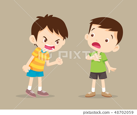 angry boy shouting at friend 48702059