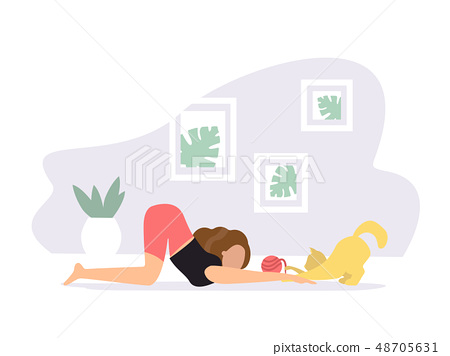 Extended puppy pose. Woman doing Yoga with cat 48705631