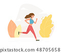 Young athletic woman running - vector illustration 48705658