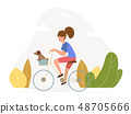 Girl with a dog riding a bicycle - vector 48705666