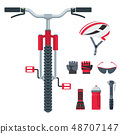 Bicycle equipment vector icons. Set of objects for biking. 48707147