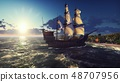 A large medieval ship in the ocean at sunset. An ancient medieval ship docked near a deserted 48707956