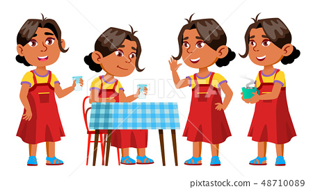 Arab, Muslim Girl Kindergarten Kid Poses Set Vector. Kiddy, Child Expression. Junior. For Postcard 48710089