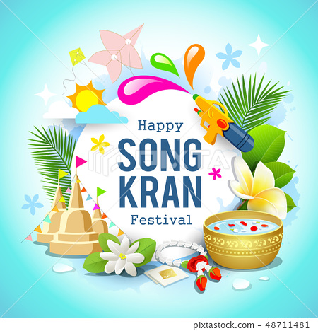 Happy Songkran festival Thailand beautiful design 48711481