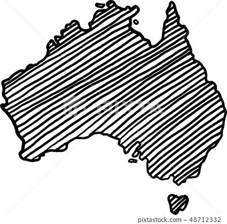 Freehand sketch australia map on white background. 48712332
