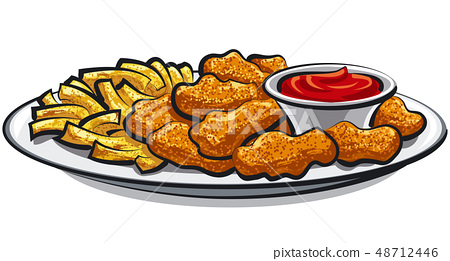 fried chicken nuggets and fries 48712446