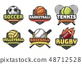 Sports balls logos. Sport logo ball soccer basketball volleyball football rugby tennis baseball 48712528