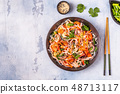 Asian salad with rice noodles, shrimp and 48713117