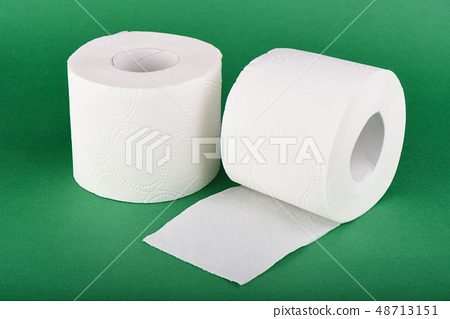 Two rolls of toilet paper isolated on green 48713151