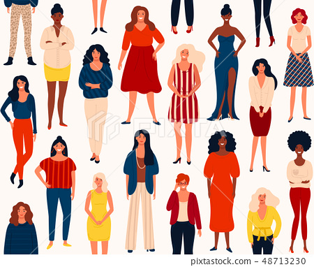 Seamless vector pattern with diverse international group of standing happy women or girls. 48713230