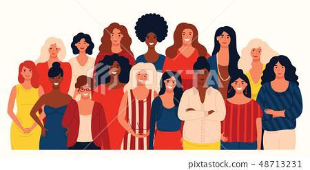 Group portrait of international group happy women or girls. 48713231