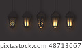 3d arabic lanterns with glowing lights. 48713667