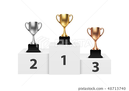 Vector 3d Blank Golden, Silver and Bronze Champion Cup on Winner Podium Closeup Isolated. Design 48713740