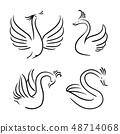 Vector set of decorative birds. Swan silhouette 48714068