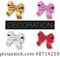 Set of realistic vector decorative silk bows 48714259