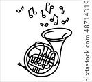 Vector illustration concept of French horn music instrument. Black on white background 48714319