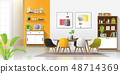 Modern colorful dining room 48714369