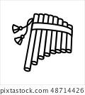 Vector illustration concept of harmonic flute music instrument. Black on white background 48714426