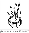 Drum music instrument icon and vector illustration 48714447