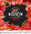 Sausage and meat frame, bbq party, butcher shop 48718953