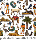 Egyptian religion and culture seamless pattern 48718978