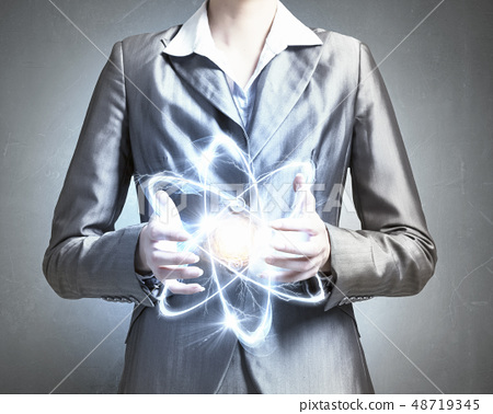 Atom molecule in hands 48719345