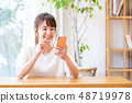 A young lady (a smartphone) 48719978