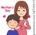 母亲节母亲和儿子 48720413