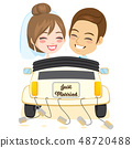 Just Married Smiling Couple Car 48720488