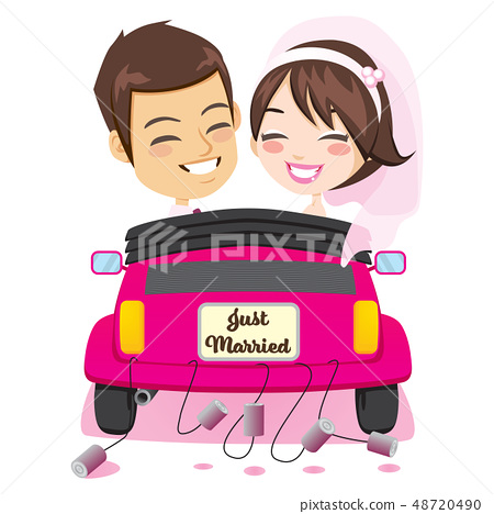 Just Married Couple Car 48720490