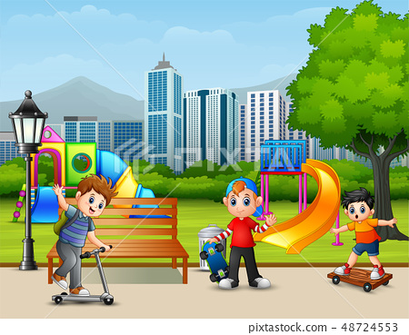 Cartoon children playing in the city park 48724553