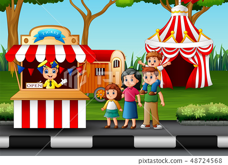 Happy family in the Amusement park 48724568
