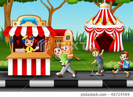 Happy children and people worker at amusement 48724569