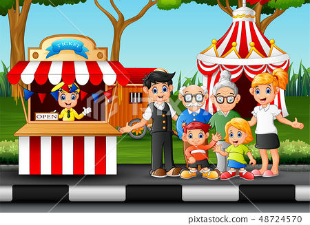 Family members recreation in the amusement park 48724570