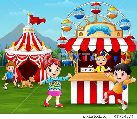Happy children having fun in the amusement park 48724574